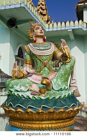 Deva Statue In Myanmar Style Molding Art