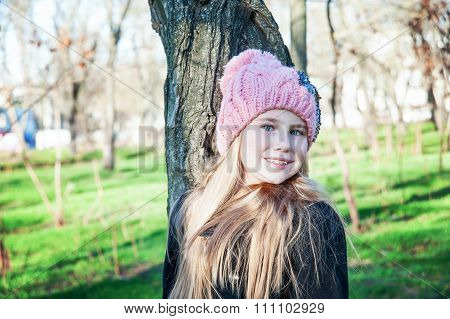 Portraite Little Girl Standing Near Tree Cold Season