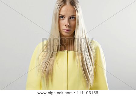 Beautiful young fashion woman with blonde hair