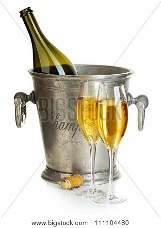 Champagne Bottle With Bucket Ice And Glasses Of Champagne, Isolated On White. Festive Still Life.