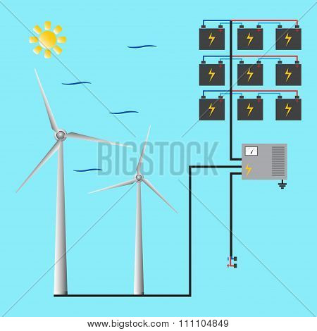Wind Generator For Web And Mobile. Green Energy. Vector.