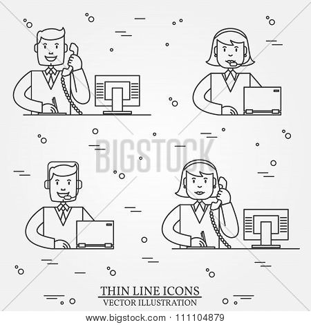 Call Center Question Answer Service Outline Thin Line  Icons Set.  For Web And Mobile. Vector.