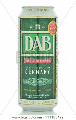 DAB beer isolated on white background