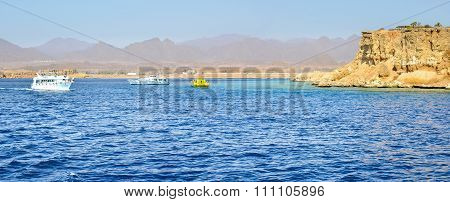 Tourist Boat Trip Around The Sinai On The Yacht, Red Sea, Sharm El Sheikh