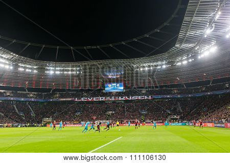 Interior View Of The Full Bayarena Stadium During The Uefa Champions League Game Between Bayer 04 Le