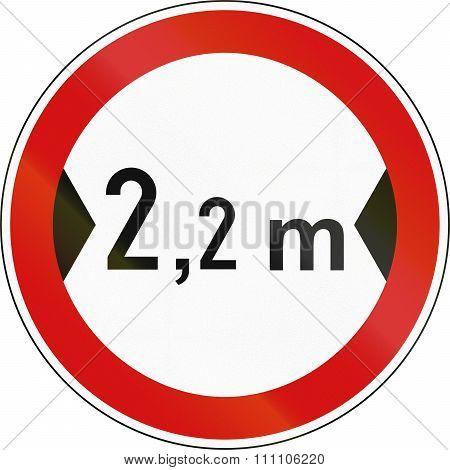 Slovenian Regulatory Road Sign - No Vehicles Over 2.2 Meters In Width