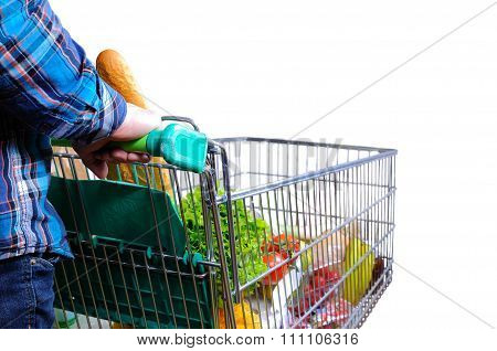 Man Pushing Shopping Cart Full Of Food Isolated White