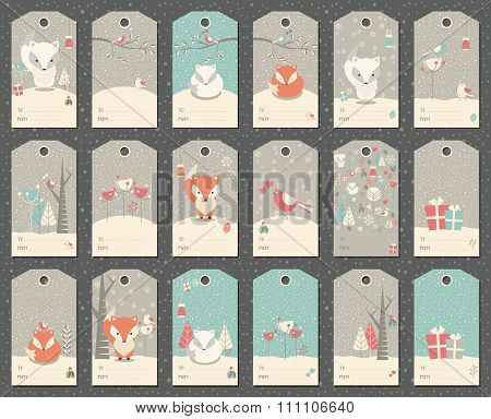 Collection Of 18 Christmas And New Year Gift Tags With Foxes, Birds And Trees
