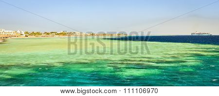 Coastal hotel on the beach, Red sea, Sharm El Sheikh, Egypt