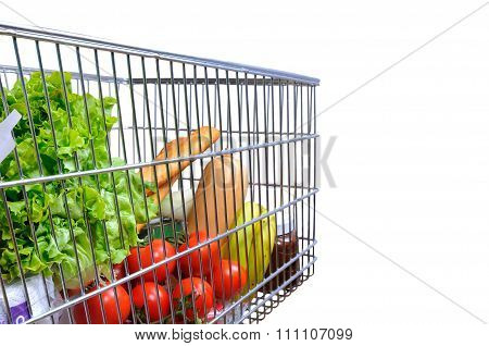 Shopping Cart Full Of Food Isolated White Side Tilt View