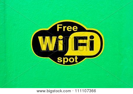 Free Wifi Spot Sign.