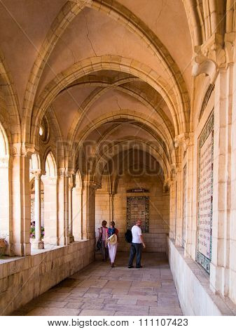JERUSALEM ISRAEL - JULY 13 2015: The gothic corridor of atrium in Church of the Pater Noster on Moun