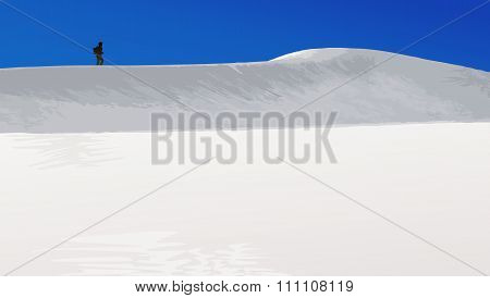White Sands With Hiker