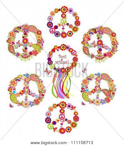 Collection of peace flowers symbols