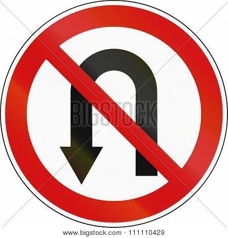 Slovenian Regulatory Road Sign - No U-turn