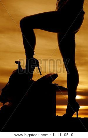 Silhouette Of Woman Heel On Saddle Standing