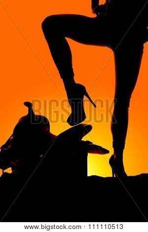 Silhouette Of Woman Legs One Up On Saddle