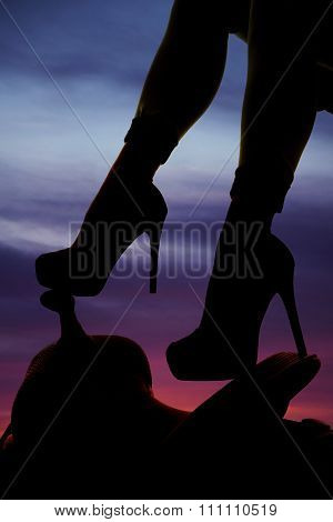 Silhouette Of Woman's Heels On Saddle