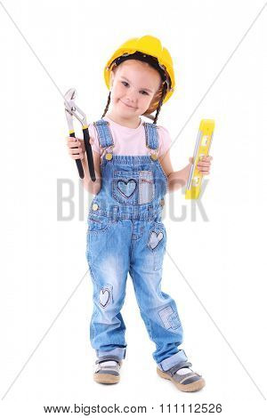 Cute little girl in yellow helmet with structural equipment isolated on white background