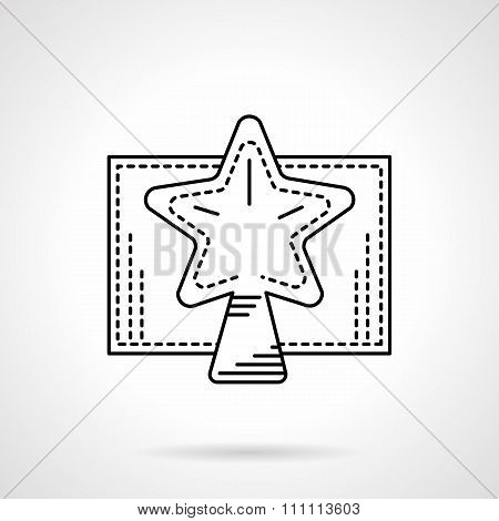 Christmas star black linear vector icon