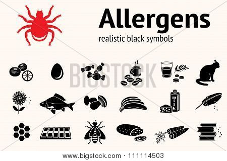 Medical allergy icon set. Food and common allergens symbols. Fish cat insect sweets mushroom dust be