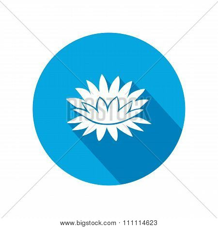 Lily flower icons. Water-lilies floral symbol. Round circle flat icon with long shadow. Vector