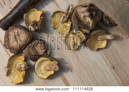 Dried shiitake mushrooms on wooden background