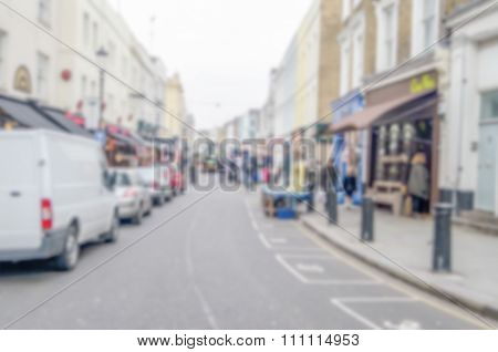 Defocused Background Of Portobello Road, Notting Hill, London.