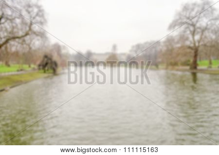 Defocused Background Of St James's Park Lake, London