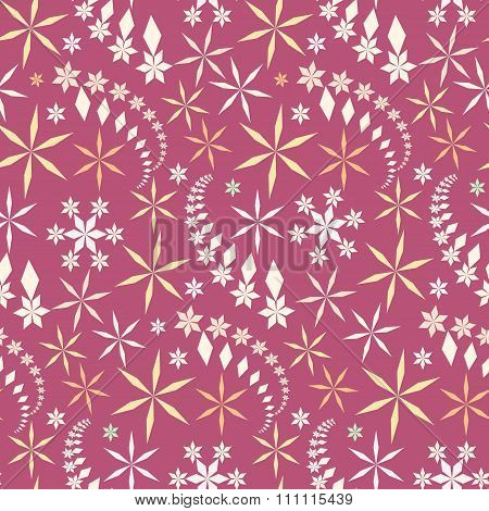 Seamless christmas pattern. Snowflakes, crystals on pastel rose background. Gray star silhouettes. W