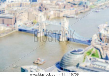 Defocused Background Of Tower Bridge In London, Uk