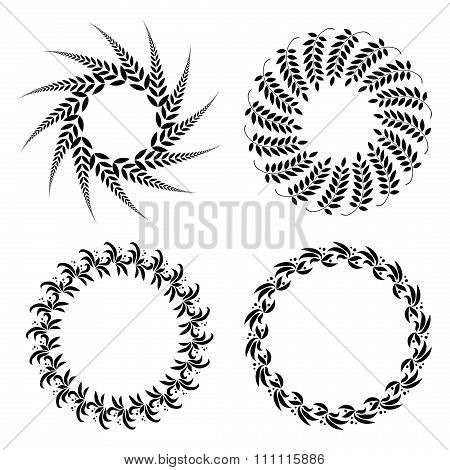 Laurel wreath tattoo set. Black ornaments, nine round signs of leaves. Victory, peace, glory symbol.
