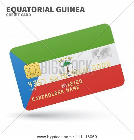 Credit card with Equatorial Guinea flag background for bank, presentations and business. Isolated on