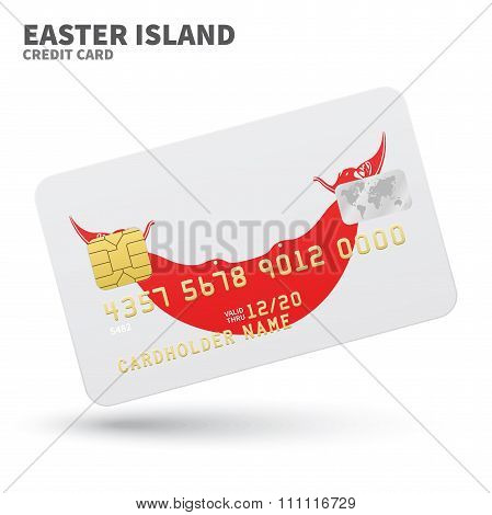 Credit card with Easter Island flag background for bank, presentations and business. Isolated on whi