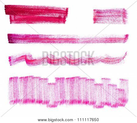 Set of rose watercolor brush strokes.