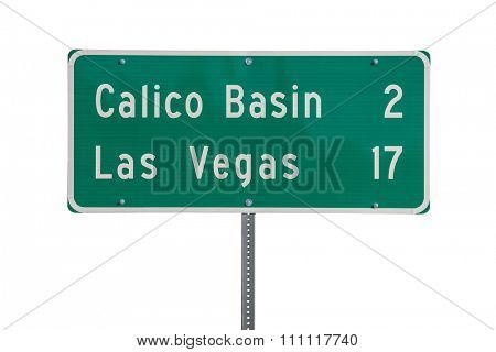 Las Vegas highway sign isolated on white.