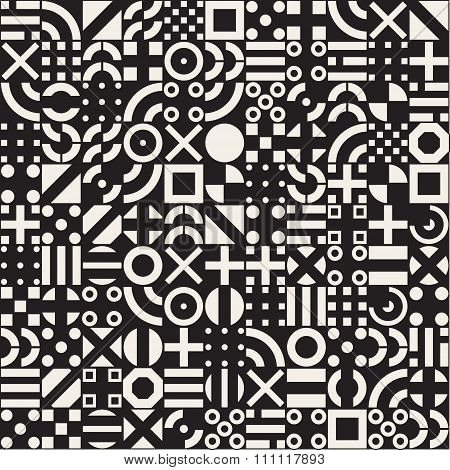 Vector Seamless White Geometric Primitive Square Blocks Grid Pattern On Black Background