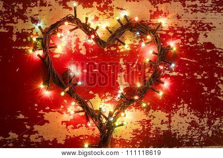 Holiday Concept Love Heart Shape Christmas Lights