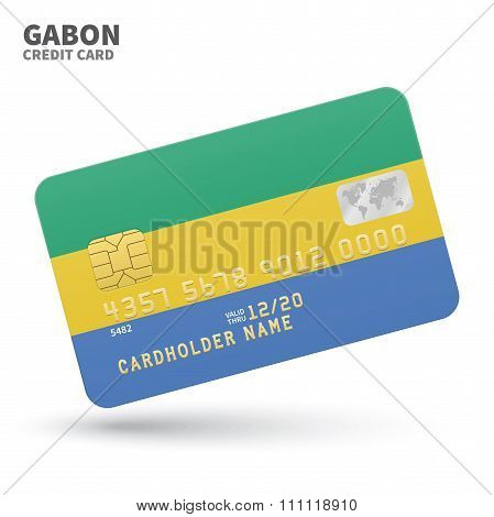 Credit card with Gabon flag background for bank, presentations and business. Isolated on white
