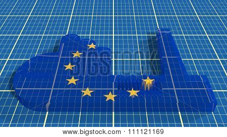 European Union Heavy Industry Concept Image. Glass Plant Icon