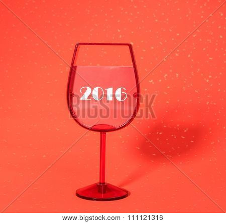 2016 celebrations New Year concept,glass goblet and numeral 2016