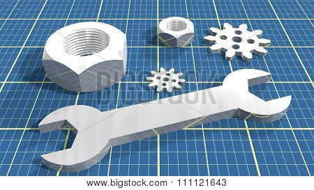 Silver Nuts, Gears And Wrench On Blueprint Paper Textured Background