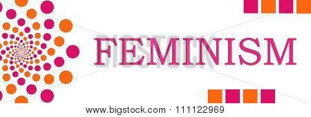 Feminism Pink Orange Dots Horizontal