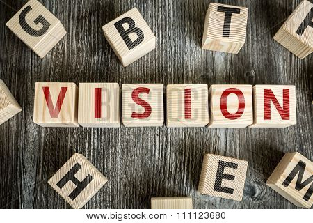Wooden Blocks with the text: Vision