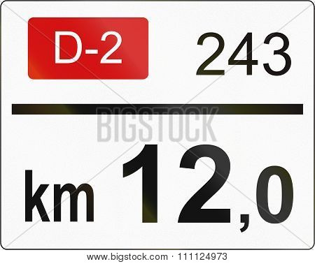 Slovenian Road Sign - Road Distance Marker