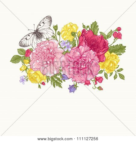 Card With A Bouquet Of Flowers And A Butterfly.