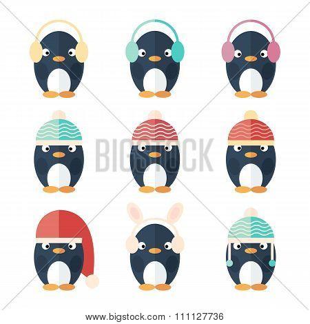 Penguins Icons Set Isolated