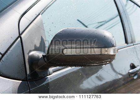 Wing Mirror Of Grey Car