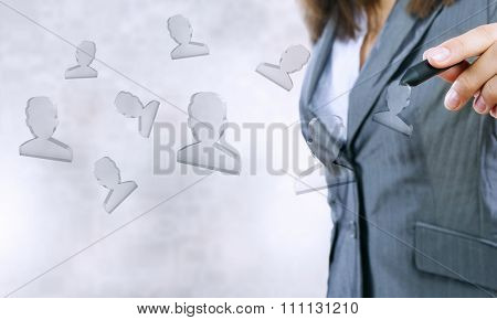 Close up of businesswoman touching media screen with stylus