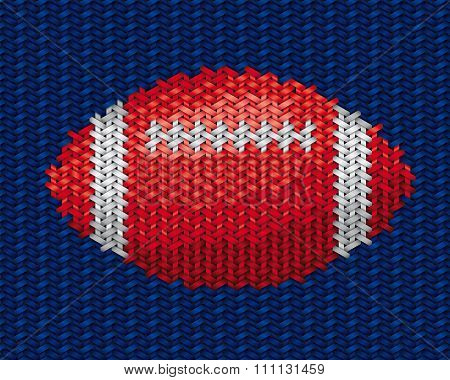 American Football Ball Embroidery On Fabric